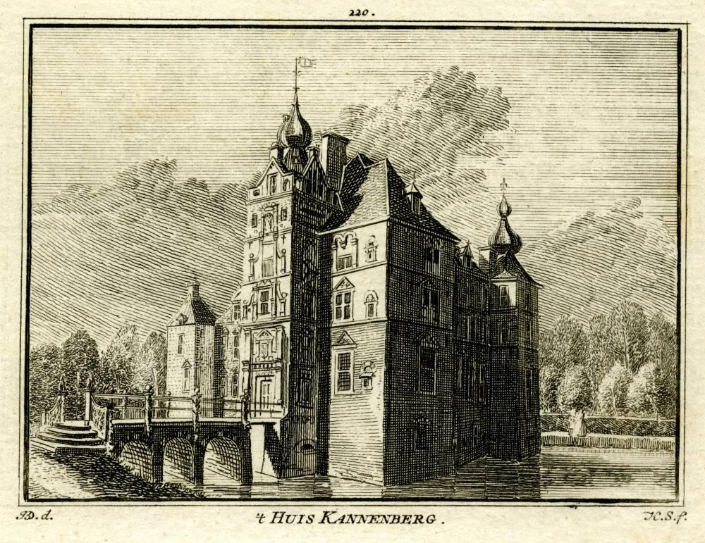 De Cannenburch in Vaassen. Tekening Jan de Beijer, gravure Hendrik Spilman (Uit: Het Verheerlykt Nederland, Isaac Tirion, 1745/1774)